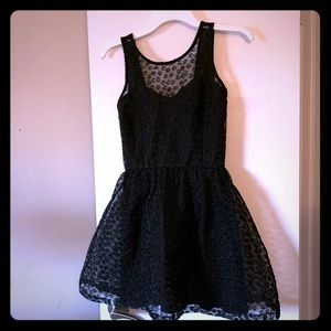 Black layered lace cocktail dress